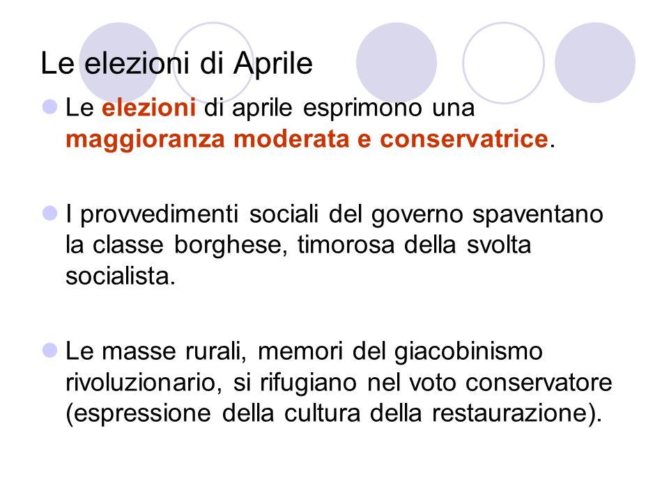 Le elezioni di Aprile Le elezioni di aprile esprimono una maggioranza moderata e conservatrice.