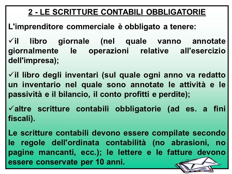 2 - LE SCRITTURE CONTABILI OBBLIGATORIE
