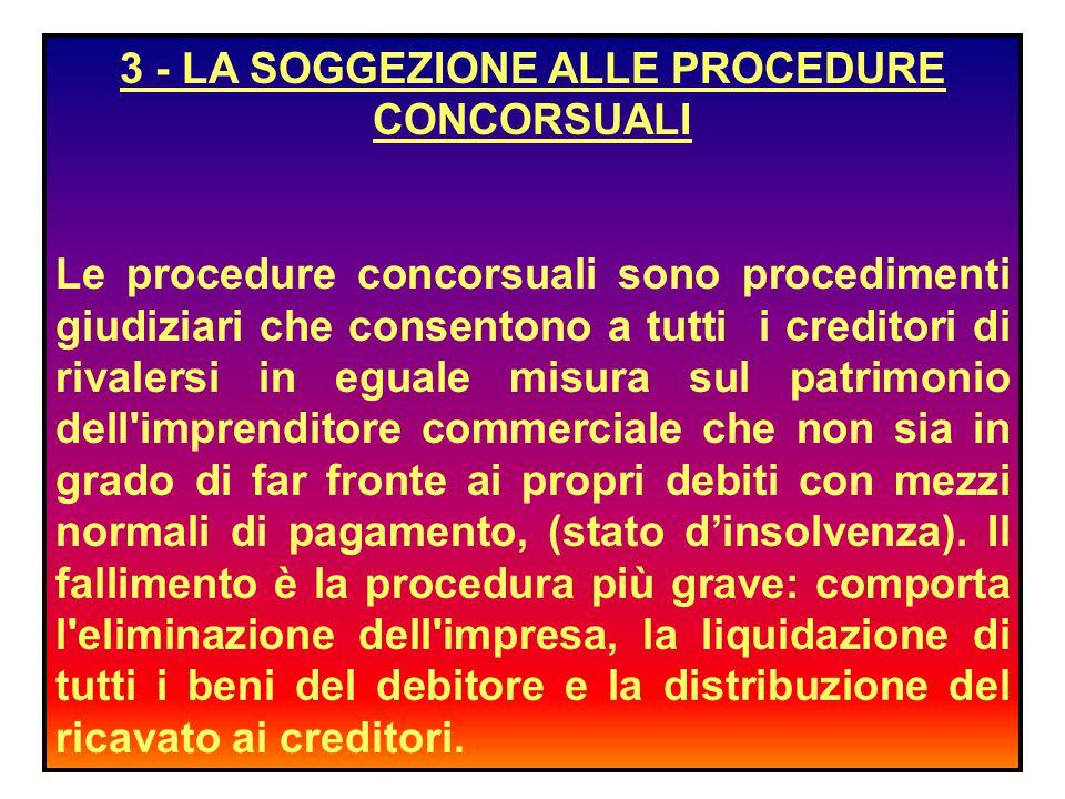 3 - LA SOGGEZIONE ALLE PROCEDURE CONCORSUALI