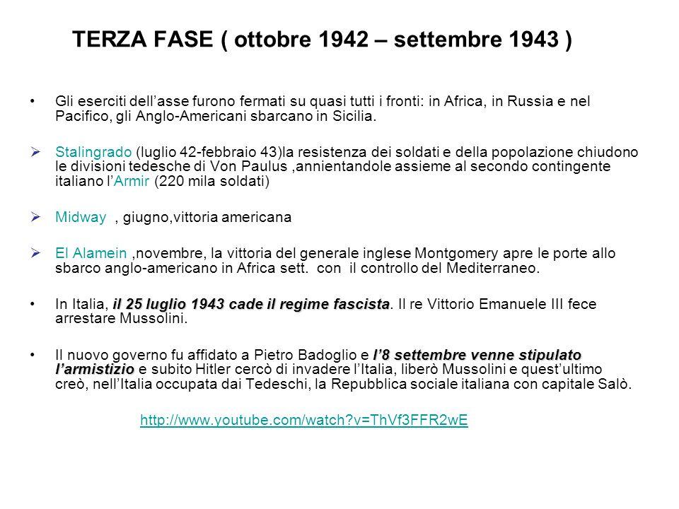 TERZA FASE ( ottobre 1942 – settembre 1943 )