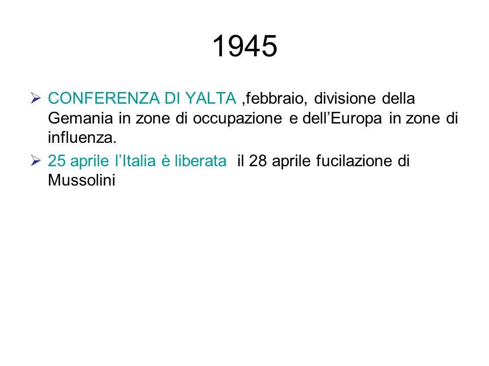 1945 CONFERENZA DI YALTA ,febbraio, divisione della Gemania in zone di occupazione e dell'Europa in zone di influenza.