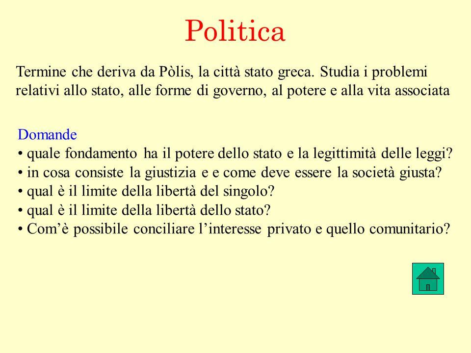 Politica Termine che deriva da Pòlis, la città stato greca. Studia i problemi.
