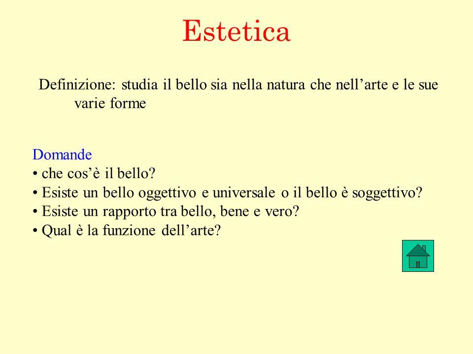 Estetica Definizione: studia il bello sia nella natura che nell'arte e le sue. varie forme. Domande.