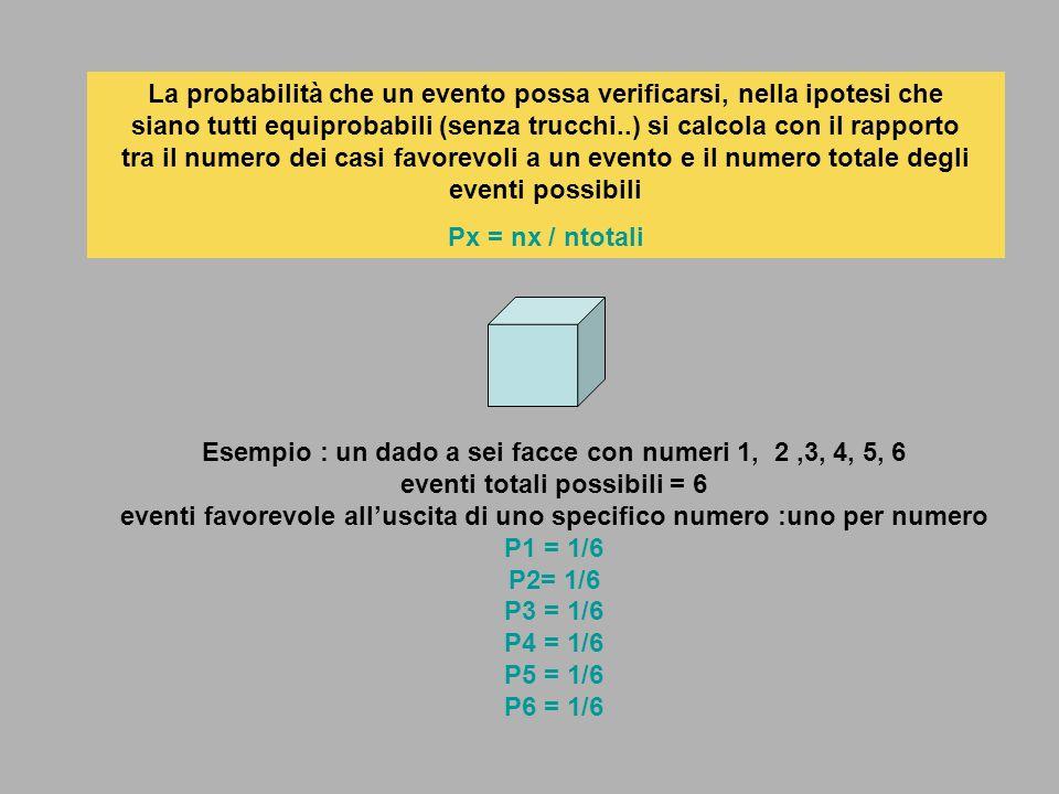 La probabilità che un evento possa verificarsi, nella ipotesi che siano tutti equiprobabili (senza trucchi..) si calcola con il rapporto tra il numero dei casi favorevoli a un evento e il numero totale degli eventi possibili