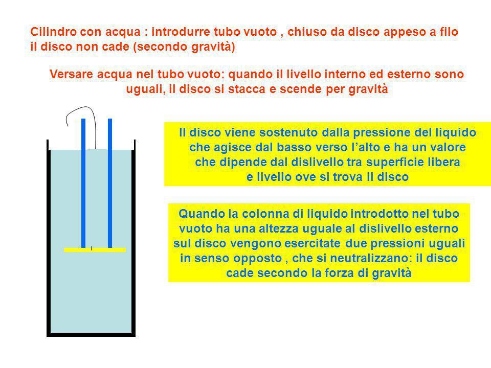 Cilindro con acqua : introdurre tubo vuoto , chiuso da disco appeso a filo il disco non cade (secondo gravità)