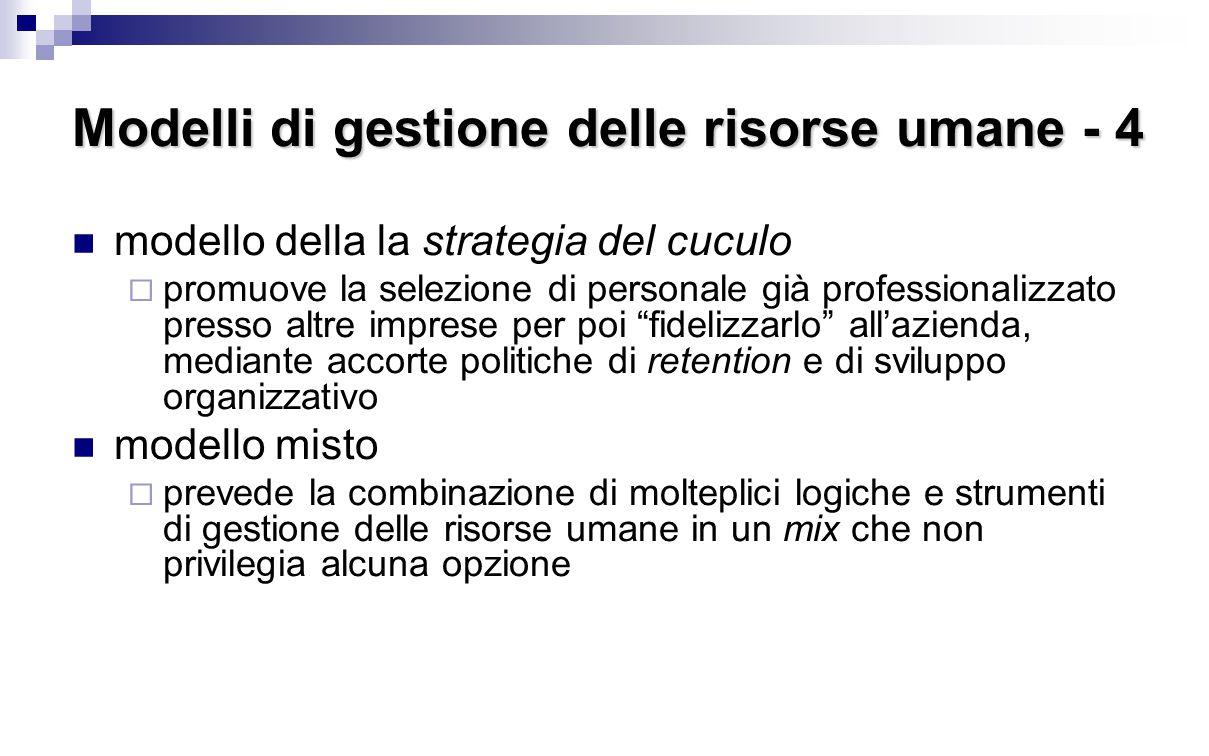 Modelli di gestione delle risorse umane - 4