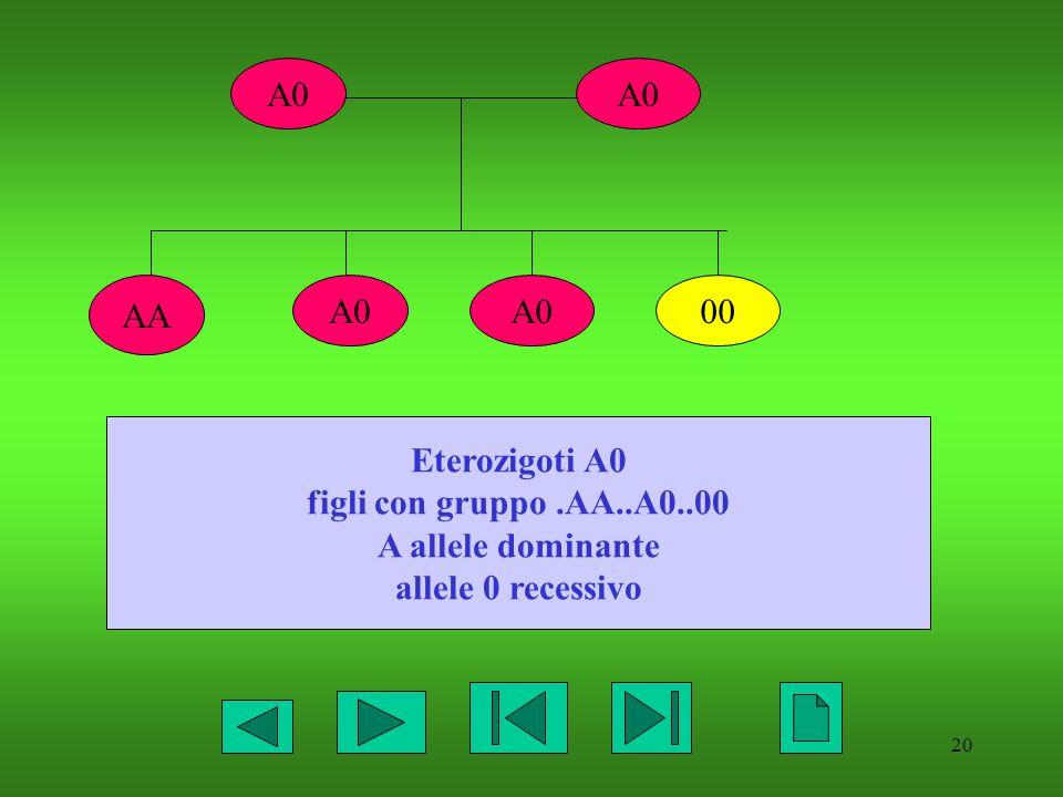 A0 A0 AA A0 A0 00 Eterozigoti A0 figli con gruppo .AA..A0..00 A allele dominante allele 0 recessivo