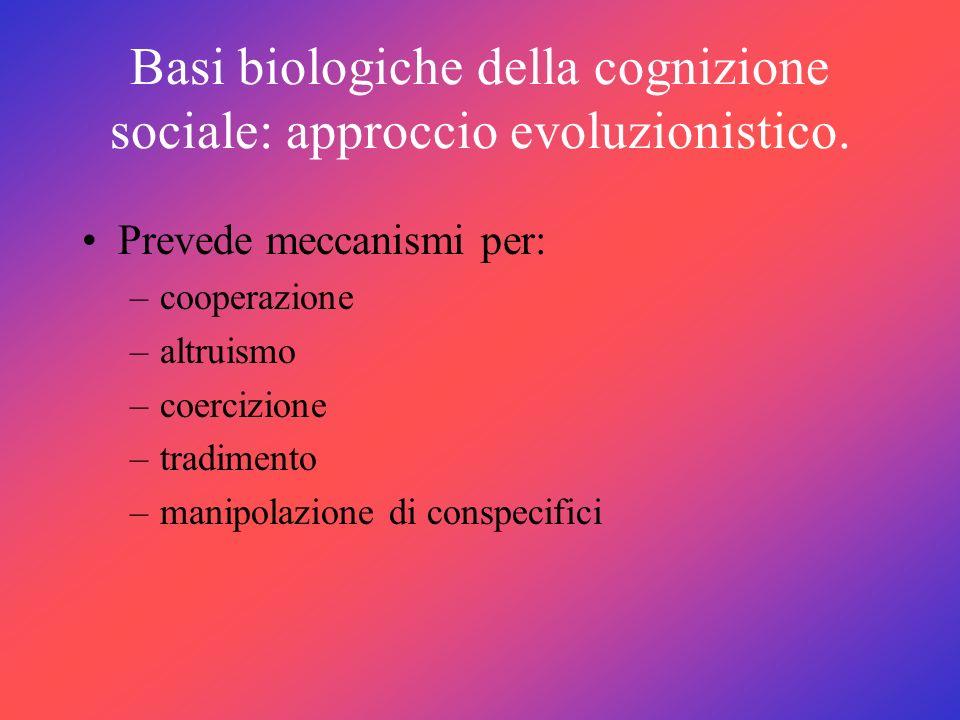 Basi biologiche della cognizione sociale: approccio evoluzionistico.