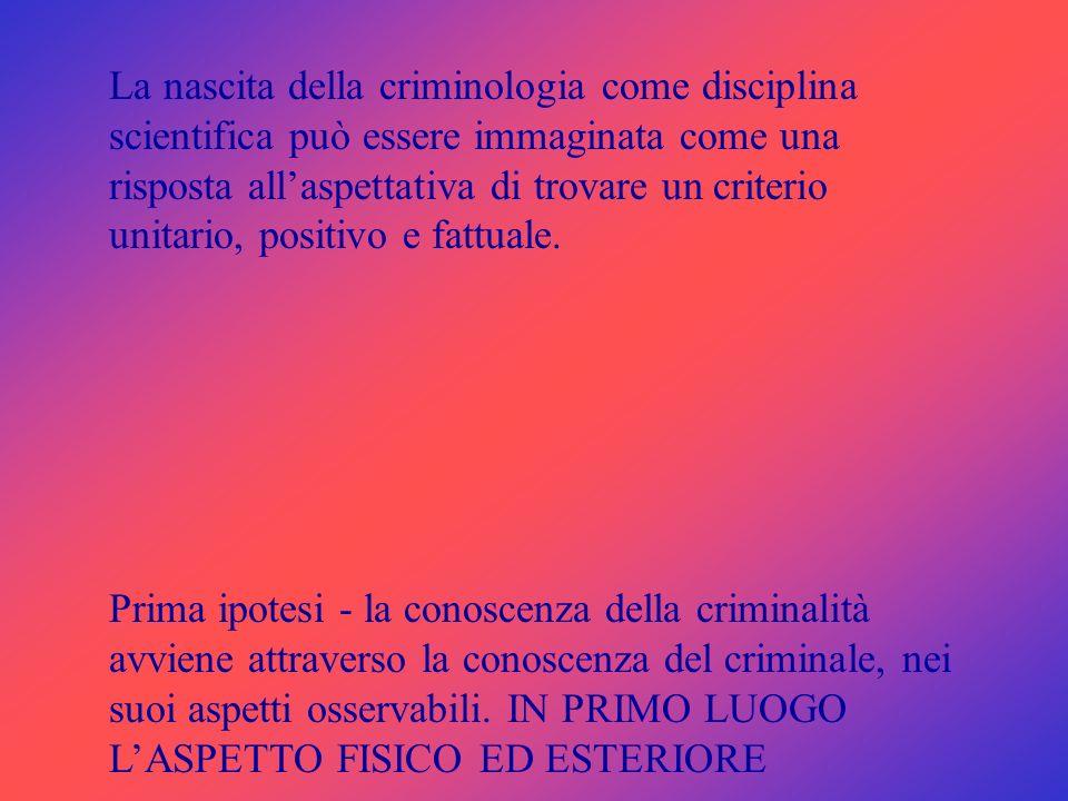 La nascita della criminologia come disciplina scientifica può essere immaginata come una risposta all'aspettativa di trovare un criterio unitario, positivo e fattuale.