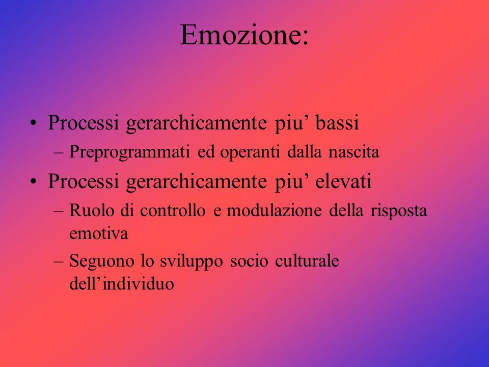 Emozione: Processi gerarchicamente piu' bassi