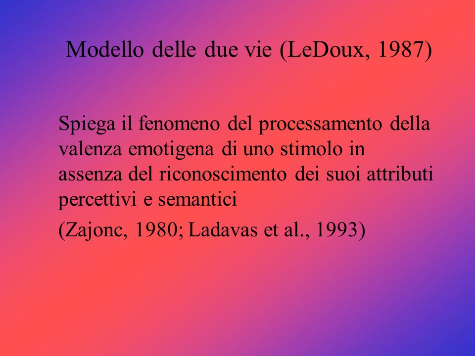Modello delle due vie (LeDoux, 1987)