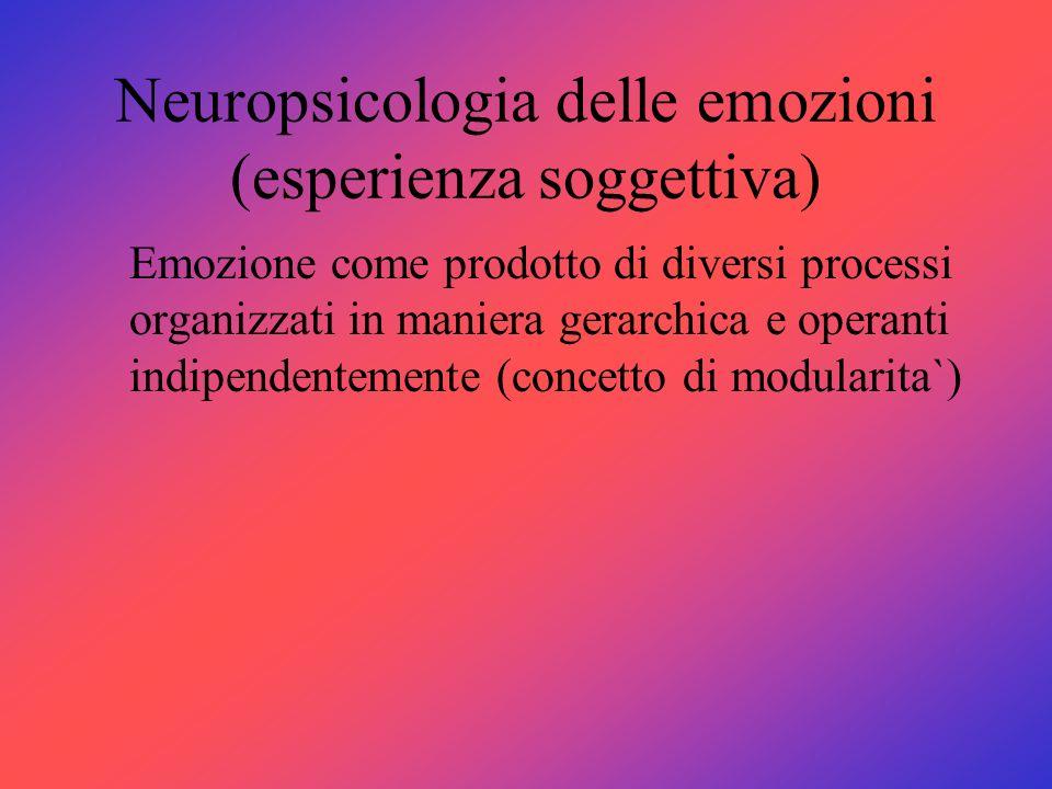 Neuropsicologia delle emozioni (esperienza soggettiva)