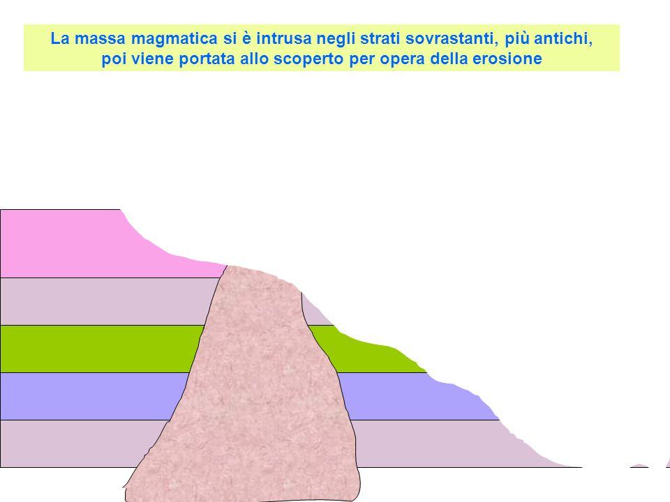 La massa magmatica si è intrusa negli strati sovrastanti, più antichi, poi viene portata allo scoperto per opera della erosione