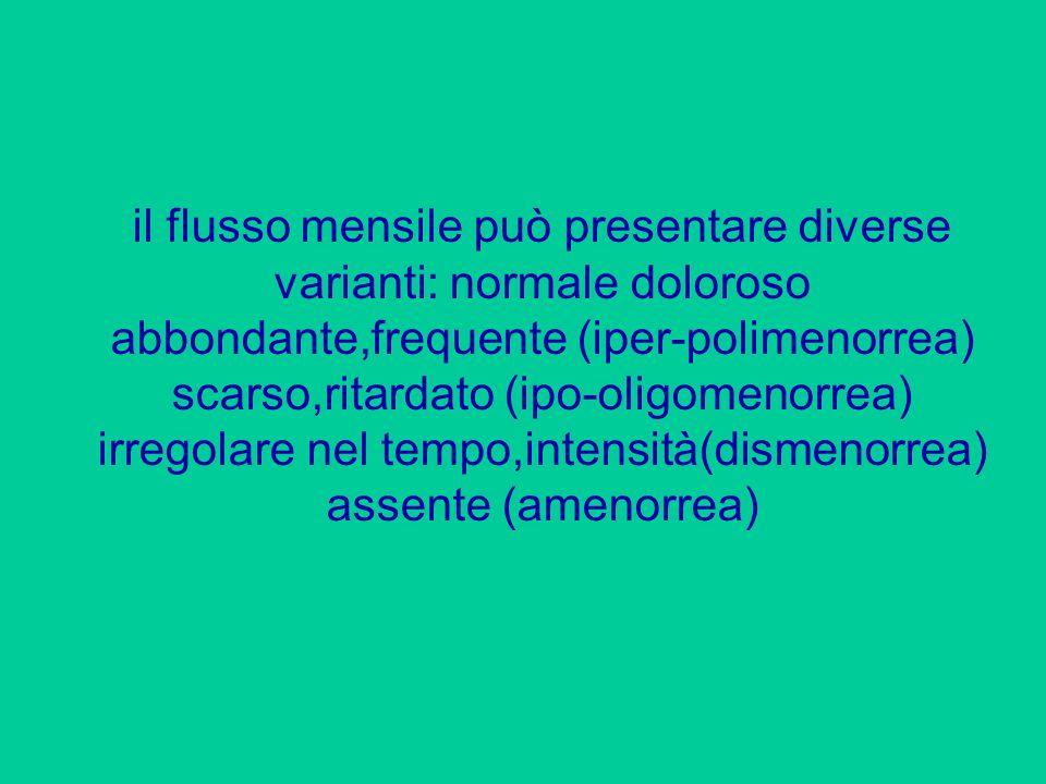 il flusso mensile può presentare diverse varianti: normale doloroso abbondante,frequente (iper-polimenorrea) scarso,ritardato (ipo-oligomenorrea) irregolare nel tempo,intensità(dismenorrea) assente (amenorrea)