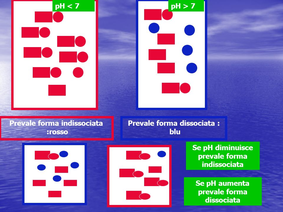 Prevale forma indissociata :rosso Prevale forma dissociata : blu