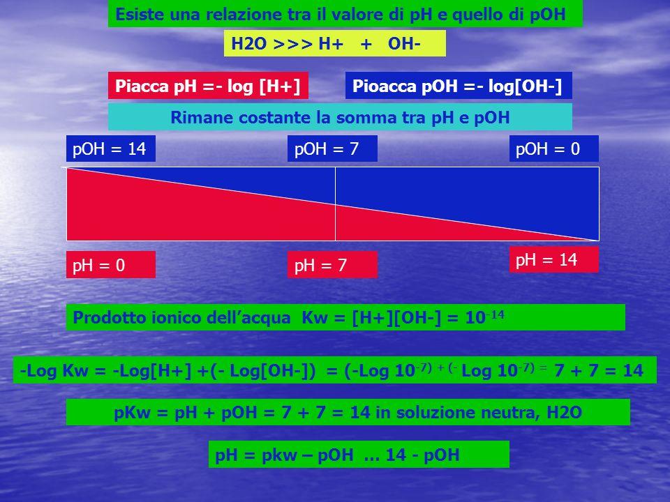 Esiste una relazione tra il valore di pH e quello di pOH