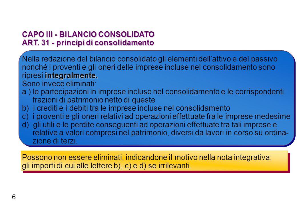 CAPO III - BILANCIO CONSOLIDATO ART. 31 - principi di consolidamento