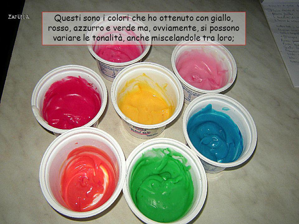 Questi sono i colori che ho ottenuto con giallo, rosso, azzurro e verde ma, ovviamente, si possono variare le tonalità, anche miscelandole tra loro;
