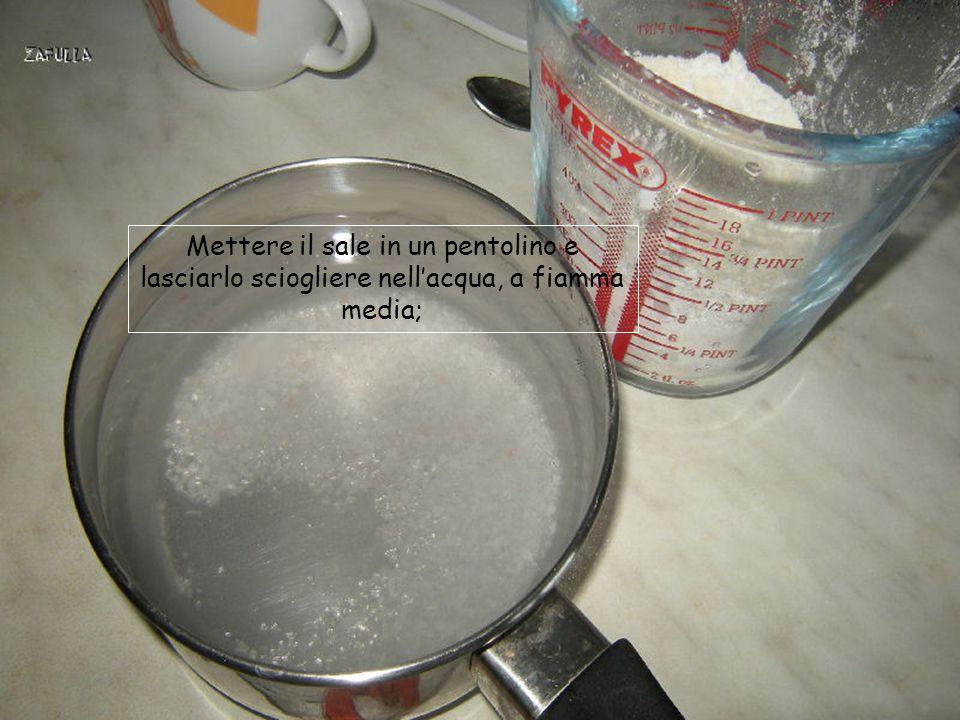 Mettere il sale in un pentolino e lasciarlo sciogliere nell'acqua, a fiamma media;