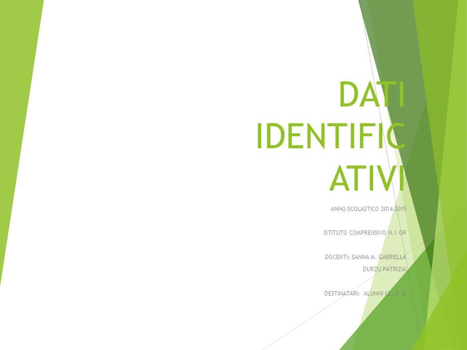 DATI IDENTIFICATIVI ANNO SCOLASTICO 2014-2015