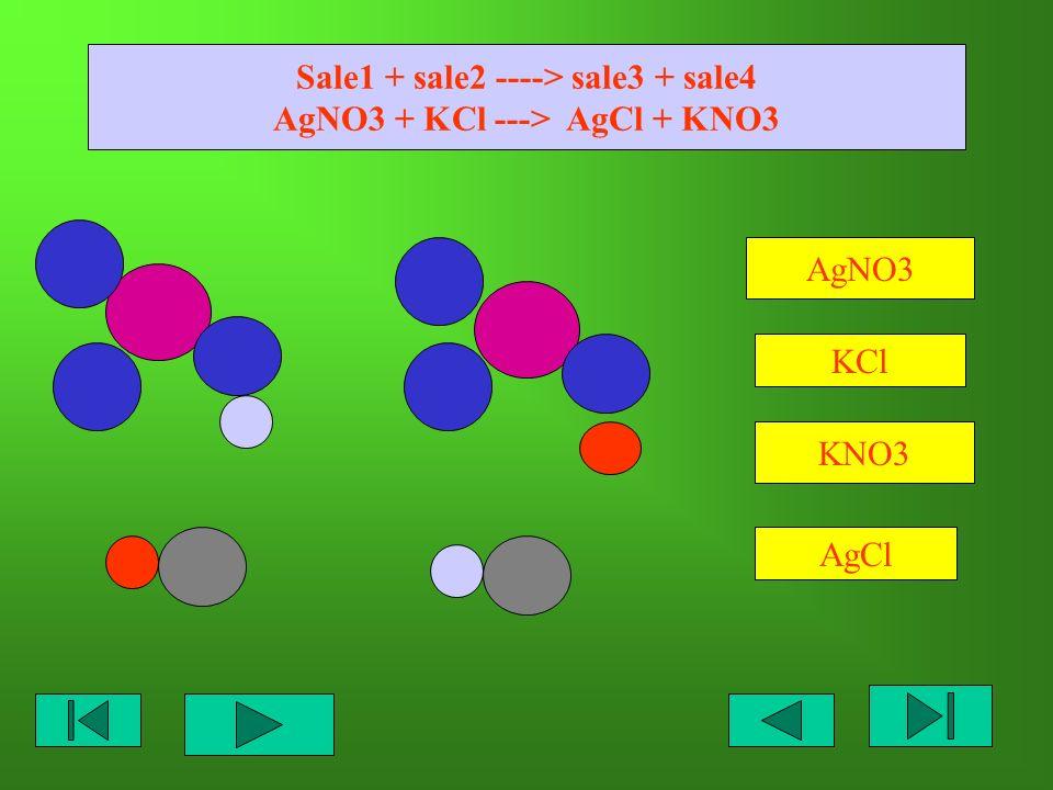 Sale1 + sale2 ----> sale3 + sale4 AgNO3 + KCl ---> AgCl + KNO3