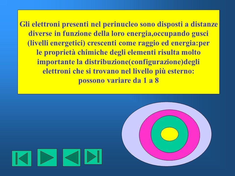 Gli elettroni presenti nel perinucleo sono disposti a distanze