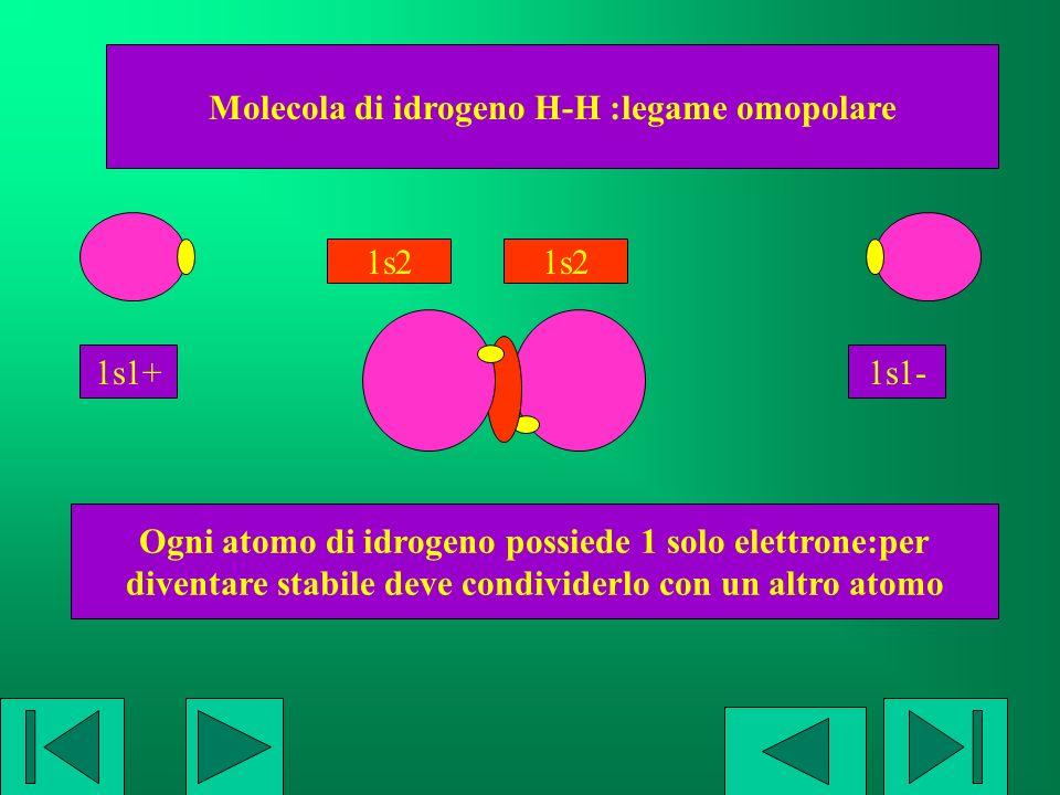 Molecola di idrogeno H-H :legame omopolare