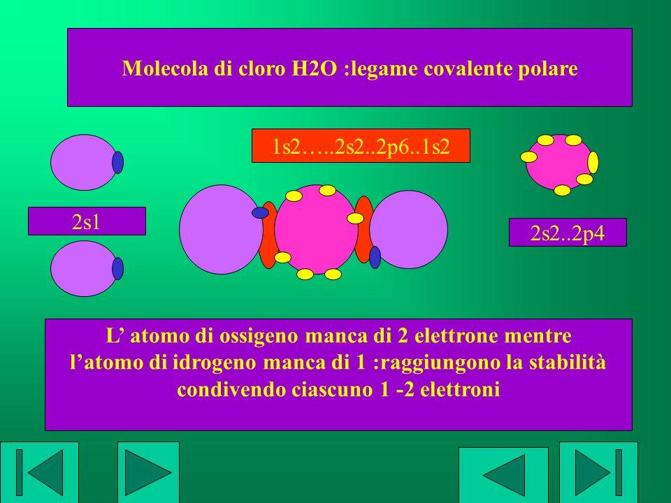Molecola di cloro H2O :legame covalente polare