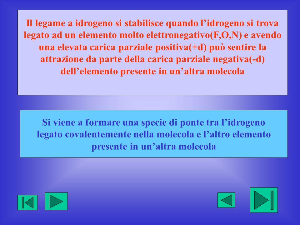 Il legame a idrogeno si stabilisce quando l'idrogeno si trova