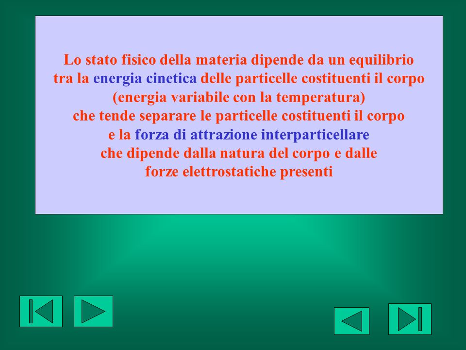 Lo stato fisico della materia dipende da un equilibrio