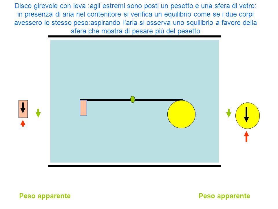 Disco girevole con leva :agli estremi sono posti un pesetto e una sfera di vetro: in presenza di aria nel contenitore si verifica un equilibrio come se i due corpi avessero lo stesso peso:aspirando l'aria si osserva uno squilibrio a favore della sfera che mostra di pesare più del pesetto