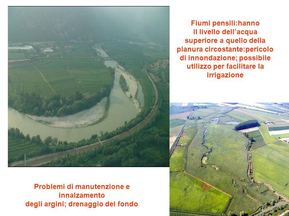 Fiumi pensili:hanno il livello dell'acqua superiore a quello della pianura circostante:pericolo di innondazione; possibile utilizzo per facilitare la irrigazione