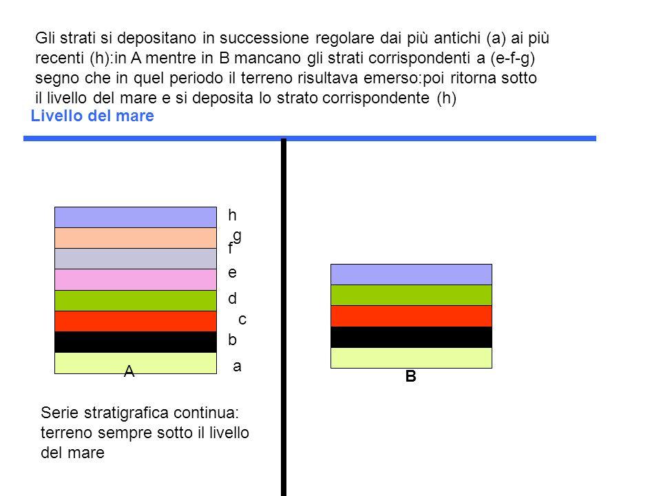 Gli strati si depositano in successione regolare dai più antichi (a) ai più recenti (h):in A mentre in B mancano gli strati corrispondenti a (e-f-g) segno che in quel periodo il terreno risultava emerso:poi ritorna sotto il livello del mare e si deposita lo strato corrispondente (h)