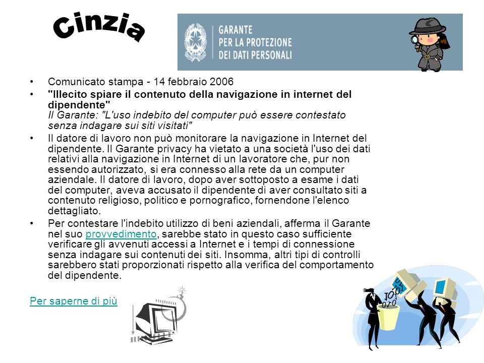 Cinzia Comunicato stampa - 14 febbraio 2006