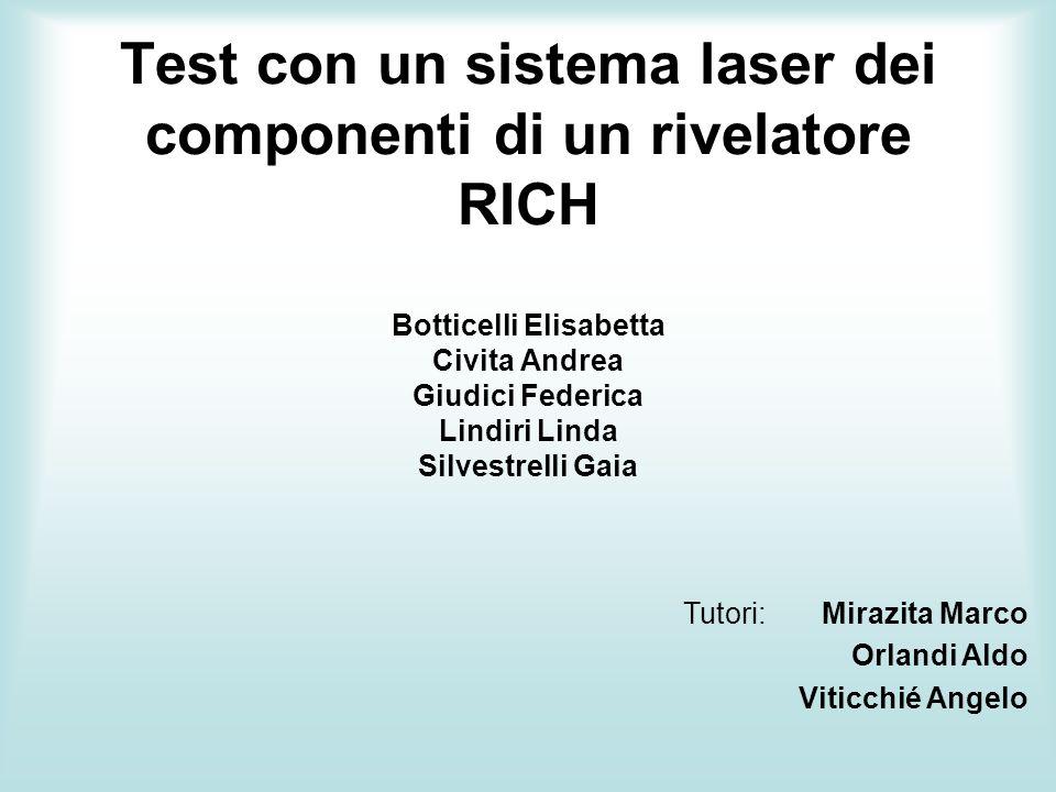 Test con un sistema laser dei componenti di un rivelatore RICH