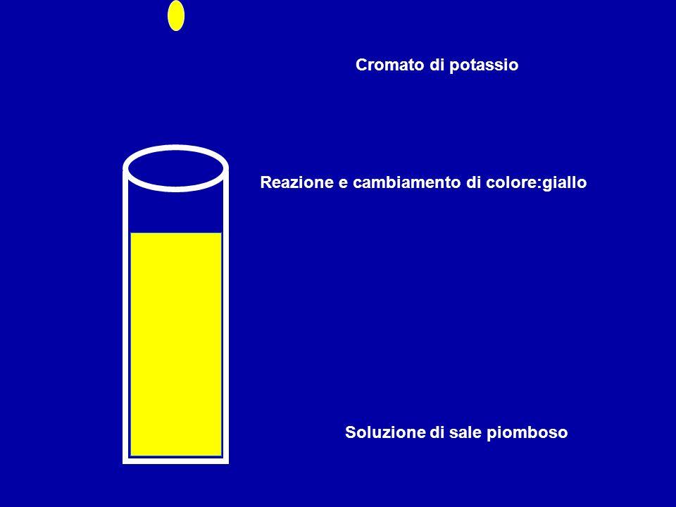 Cromato di potassio Reazione e cambiamento di colore:giallo Soluzione di sale piomboso