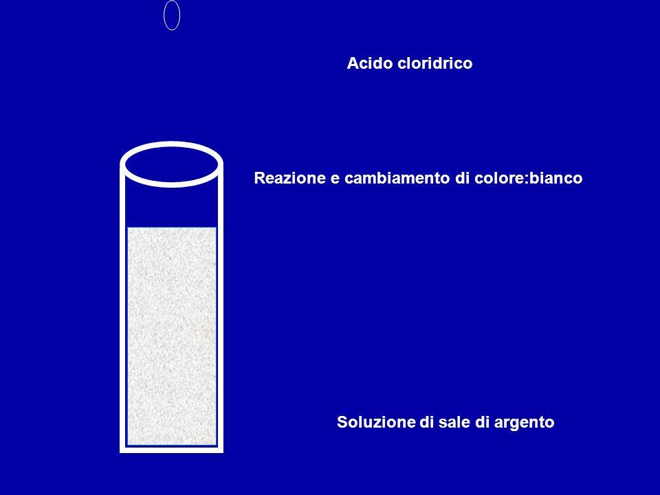 Acido cloridrico Reazione e cambiamento di colore:bianco Soluzione di sale di argento