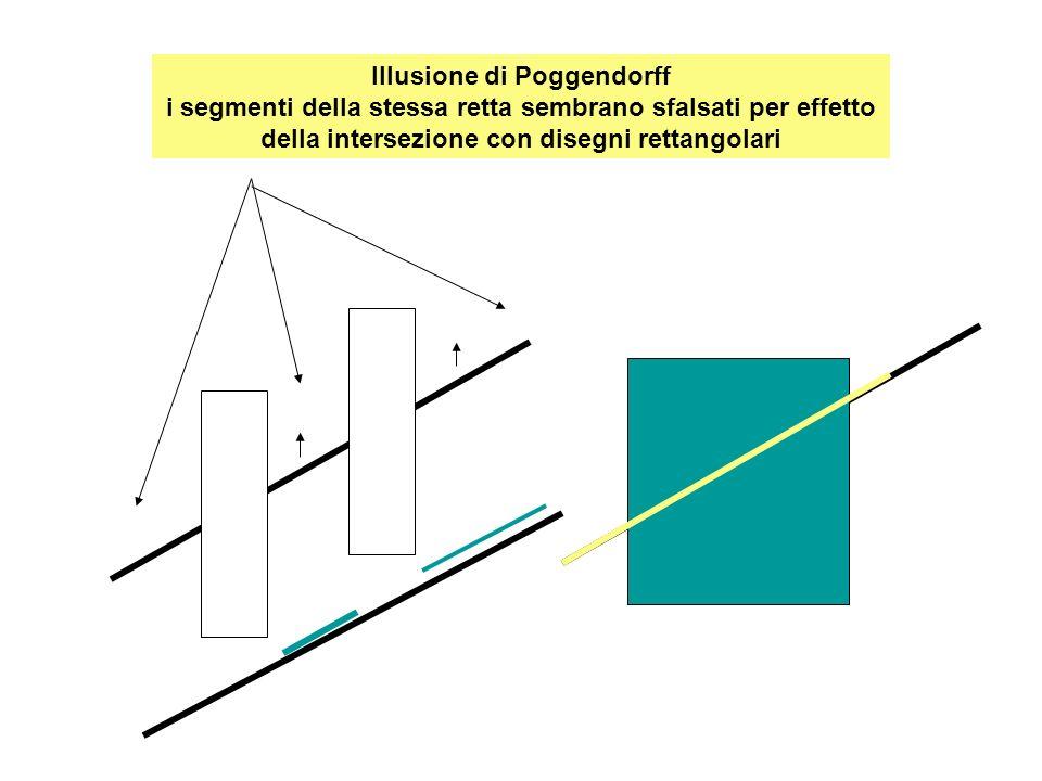 Illusione di Poggendorff i segmenti della stessa retta sembrano sfalsati per effetto della intersezione con disegni rettangolari