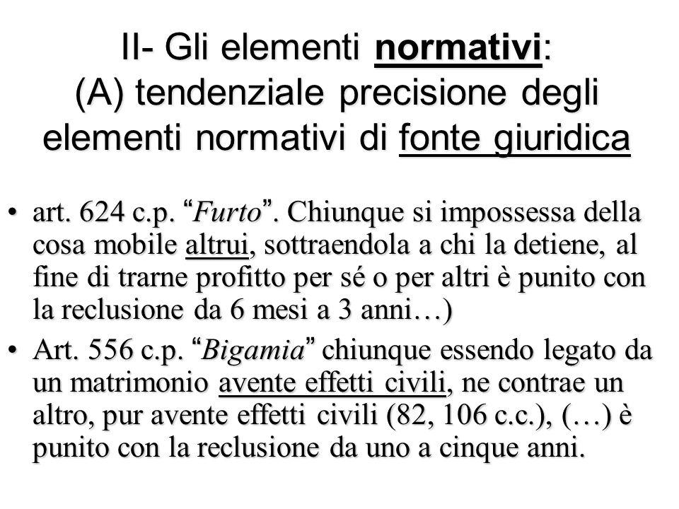 II- Gli elementi normativi: (A) tendenziale precisione degli elementi normativi di fonte giuridica
