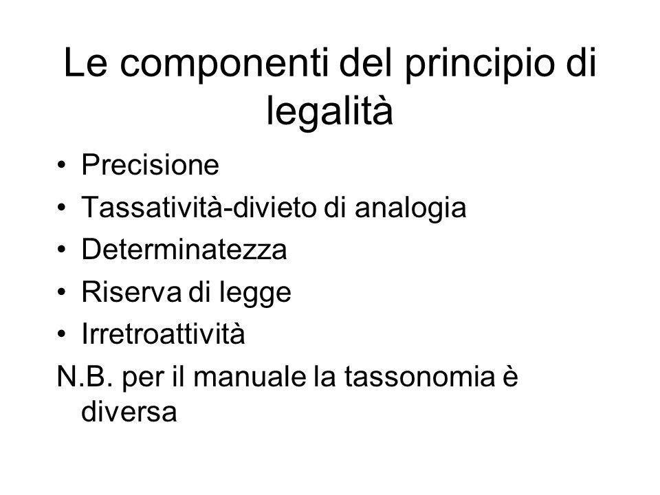 Le componenti del principio di legalità