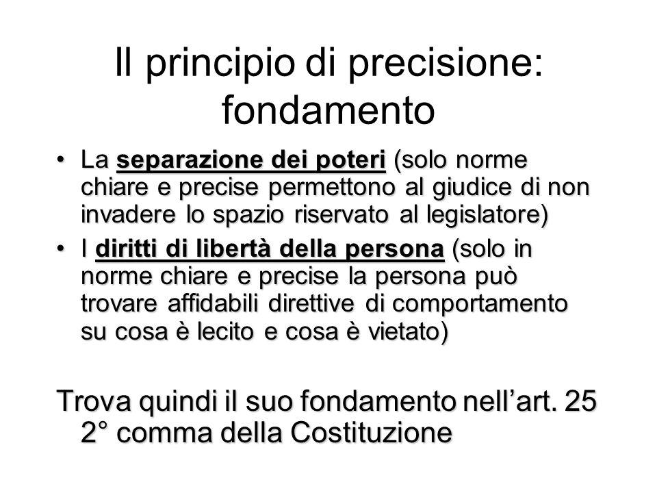 Il principio di precisione: fondamento