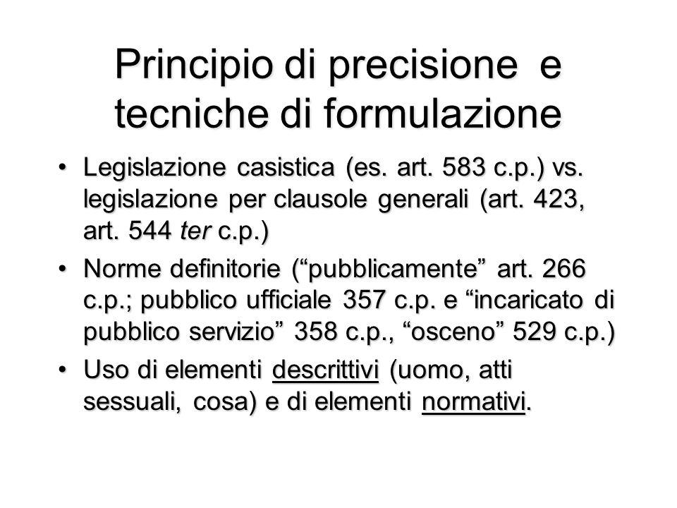 Principio di precisione e tecniche di formulazione