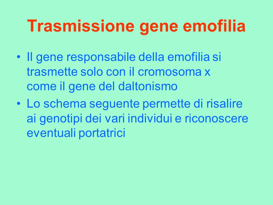 Trasmissione gene emofilia