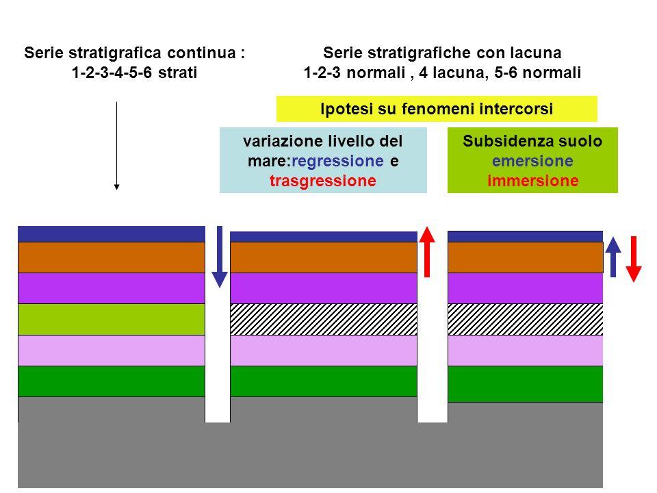 Serie stratigrafica continua : 1-2-3-4-5-6 strati
