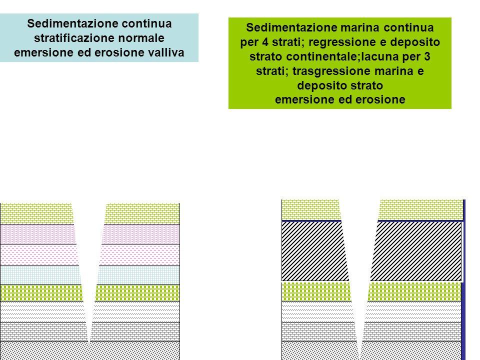 Sedimentazione continua stratificazione normale emersione ed erosione valliva