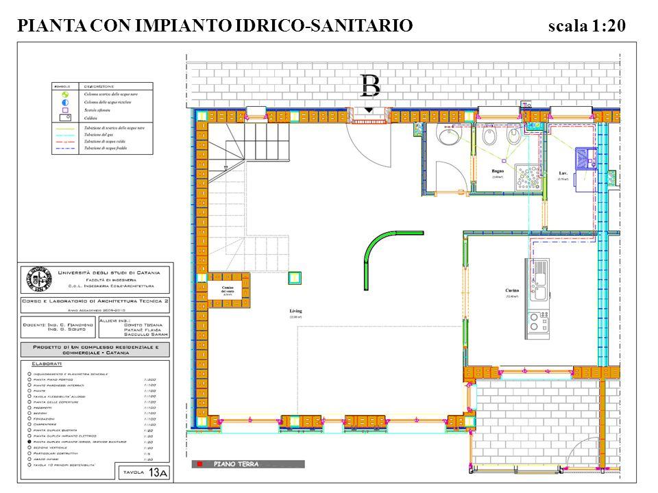 PIANTA CON IMPIANTO IDRICO-SANITARIO scala 1:20