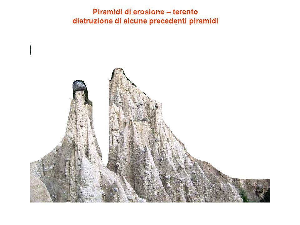 Piramidi di erosione – terento distruzione di alcune precedenti piramidi