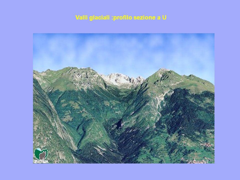 Valli glaciali :profilo sezione a U
