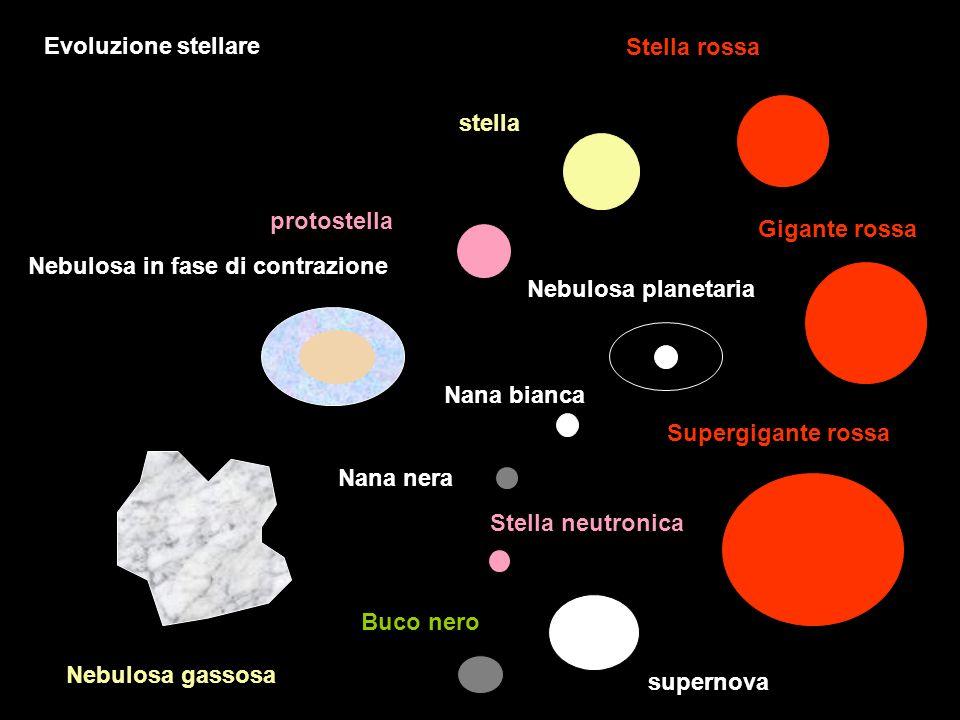 Evoluzione stellare Stella rossa. stella. protostella. Gigante rossa. Nebulosa in fase di contrazione.