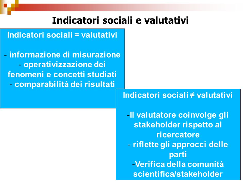 Indicatori sociali e valutativi